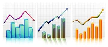 Gráfico de negocio con beneficios de la demostración de la flecha y stock de ilustración