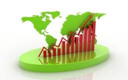 gráfico de negocio con el mapa del mundo biselado stock de ilustración