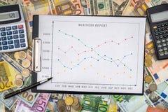 Gráfico de negocio con euro y los billetes de dólar Imagen de archivo