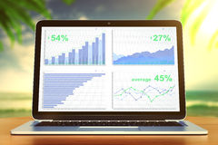 Gráfico de negocio en la pantalla del ordenador portátil en la tabla de madera en el backgro del océano Fotografía de archivo libre de regalías