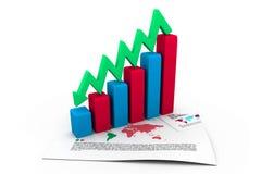 Gráfico de negocio que va abajo Imagen de archivo
