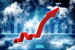 Gráfico de negocio, representación de la flecha 3d representación 3d Imagen de archivo