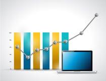 Gráfico de negocio y diseño del ejemplo del ordenador portátil Fotos de archivo