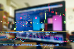 Gráfico de negocio y monitor del comercio de la inversión imágenes de archivo libres de regalías