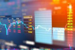 Gráfico de negocio y monitor del comercio de la inversión en el comercio del oro imagenes de archivo