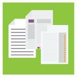 Gráfico de papel ajustado das estatísticas do vetor no fundo verde ilustração do vetor