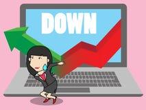 Gráfico de queda da ajuda da mulher de negócios ilustração do vetor