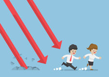 Gráfico de queda de Run Away From do homem de negócios Fotos de Stock Royalty Free