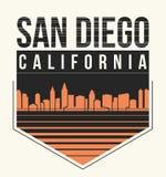 Gráfico de San Diego, diseño de la camiseta, impresión de la camiseta, tipografía, emblema Imagen de archivo libre de regalías