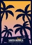 Gráfico de Santa Monica Surfing con las palmas Diseño e impresión de la camiseta ilustración del vector