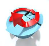 gráfico de sectores 3D con la flecha Imagen de archivo libre de regalías