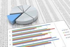 gráfico de sectores 3d en fondo de la hoja de balance Fotografía de archivo libre de regalías