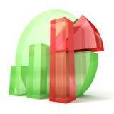 gráfico de sectores 3d y gráfico de barra verdes con las piezas rojas Imágenes de archivo libres de regalías