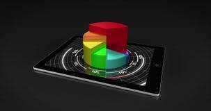 Gráfico de sectores colorido 3d en la PC de la tableta stock de ilustración