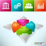 Gráfico de sectores con las flechas 3d Fotografía de archivo libre de regalías