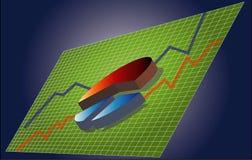 Gráfico de sectores con los gráficos Imagen de archivo libre de regalías