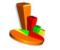 gráfico de sectores de la barra 3D y Fotografía de archivo libre de regalías
