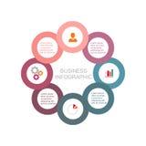 Gráfico de sectores de las ocho esferas económicas, plantilla del negocio en diseño plano Foto de archivo