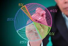 Gráfico de sectores del gráfico del hombre de negocios con porcentaje Fotografía de archivo