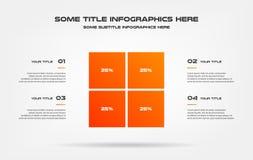 Gráfico de sectores del infographics del porcentaje Elemento del gráfico, diagrama con 4 opciones - piezas, procesos, cronología  stock de ilustración