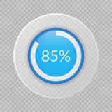 gráfico de sectores del 85 por ciento en fondo transparente Icono infographic del vector del porcentaje para el negocio, finanzas stock de ilustración