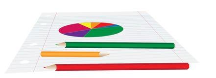 Gráfico de sectores en el papel Imagen de archivo libre de regalías