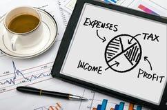 Gráfico de sectores financiero Imágenes de archivo libres de regalías