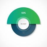 Gráfico de sectores Parte del 50 por ciento Diagrama del círculo para Infographics Bandera del vector Fotos de archivo libres de regalías