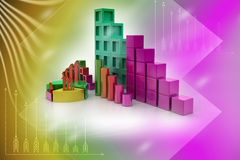 Gráfico de sectores y gráfico de barra Fotografía de archivo