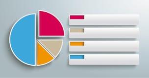 Gráfico de setores circulares colorido abas de 4 partes Foto de Stock Royalty Free