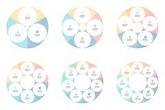 Gráfico de setores circulares lineares com 3 - 8 seções, peças Imagens de Stock Royalty Free