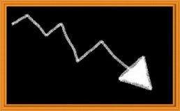 Gráfico de tiza abajo de la flecha Foto de archivo