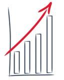 Gráfico de un aumento de las ventas Foto de archivo libre de regalías