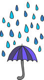 Gráfico de vector del paraguas y de las gotas de agua imagen de archivo libre de regalías