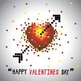 Gráfico de vector feliz del día de tarjetas del día de San Valentín con símbolo y la flecha del amor Fotos de archivo