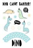 Gráfico de vetor bonito dos dinossauros Grupo do partido da barra de chocolate Bolo Topper Set Azul tirado mão, Dinos verde e beg ilustração do vetor
