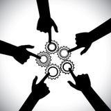 Gráfico de vetor do conceito dos trabalhos de equipa, da unidade da comunidade & da integridade Fotografia de Stock Royalty Free