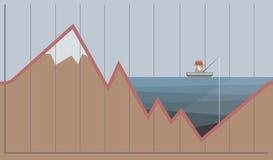 Gráfico del aceite y de los dólares Concepto de la crisis de la industria de petróleo Ilustración del vector Fotografía de archivo