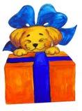 Gráfico del arqueamiento del rectángulo de regalos del perrito Foto de archivo libre de regalías