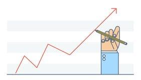 Gráfico del aumento del dibujo de la mano del hombre de negocios para mejorar negocio Foto de archivo libre de regalías
