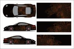 Gráfico del coche, forma que compite con abstracta con el diseño moderno de la raza para el abrigo del vinilo del vehículo stock de ilustración