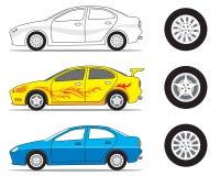 Gráfico del coche y del neumático Fotografía de archivo