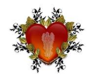 Gráfico del corazón 3D del ángel de guarda ilustración del vector