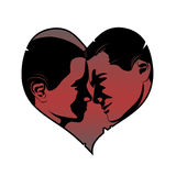 Gráfico del corazón del beso de la tarjeta del día de San Valentín Foto de archivo