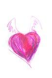 Gráfico del corazón rojo con las alas Fotos de archivo