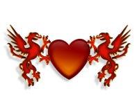 Gráfico del corazón y de los dragones 3D Imagenes de archivo