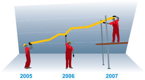 Gráfico del crecimiento del asunto (vector) Imagen de archivo