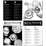 Gráfico del dibujo de la mano del diseño de la plantilla del restaurante de la comida del menú Imagen de archivo
