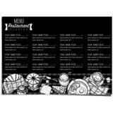 Gráfico del dibujo de la mano del diseño de la plantilla del restaurante de la comida del menú Fotos de archivo