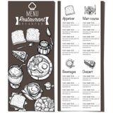 Gráfico del dibujo de la mano del diseño de la plantilla del restaurante de la comida del menú Foto de archivo